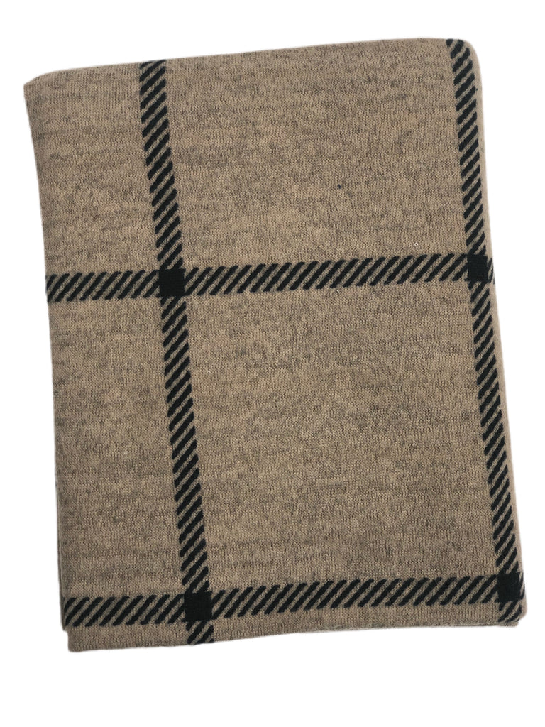 Brushed mocha and black angled plaid hacci knit