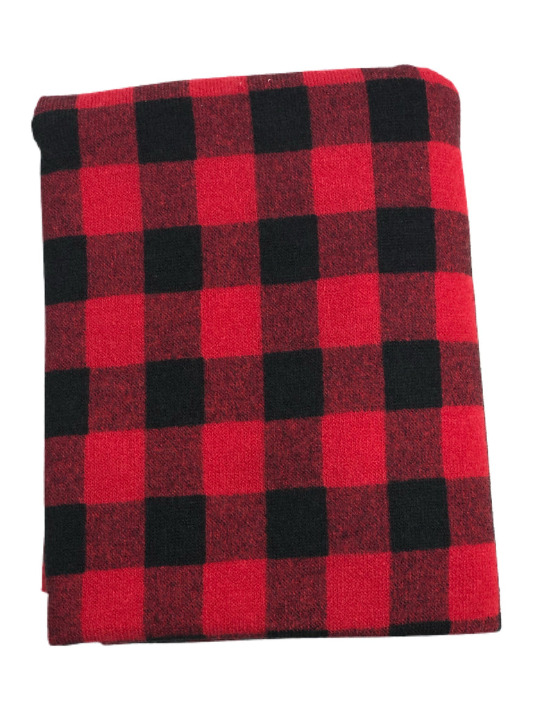 Small red Buffalo plaid hacci knit