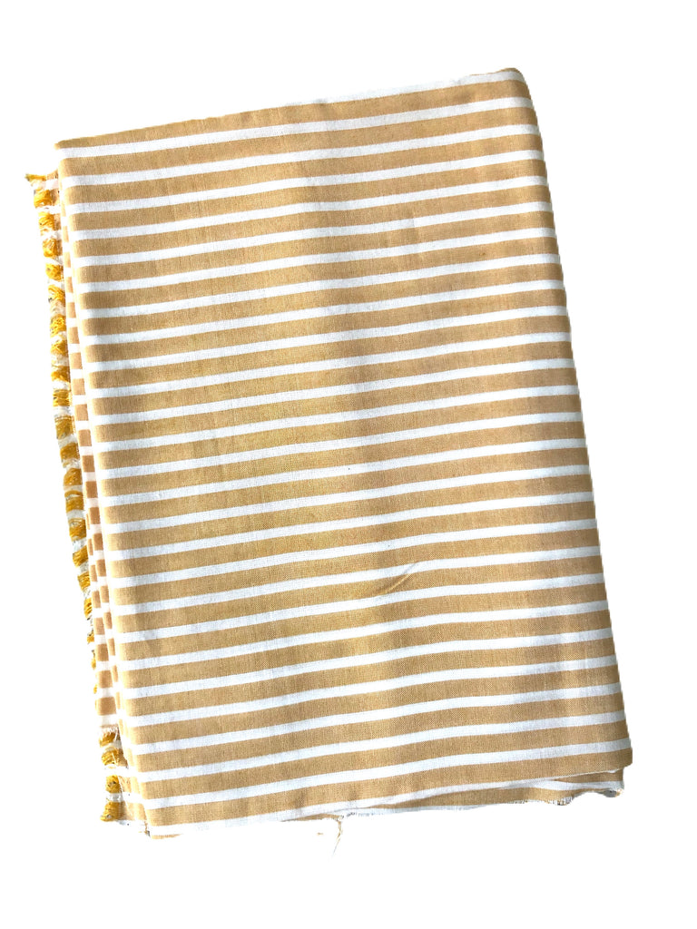 Yellow and white rayon challis woven