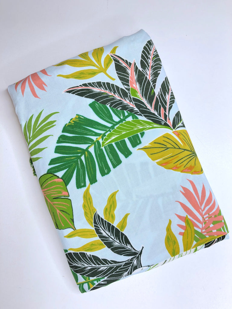 Palm tree leaves rayon challis woven