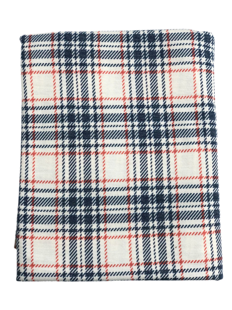 Navy red and white plaid spun poly knit