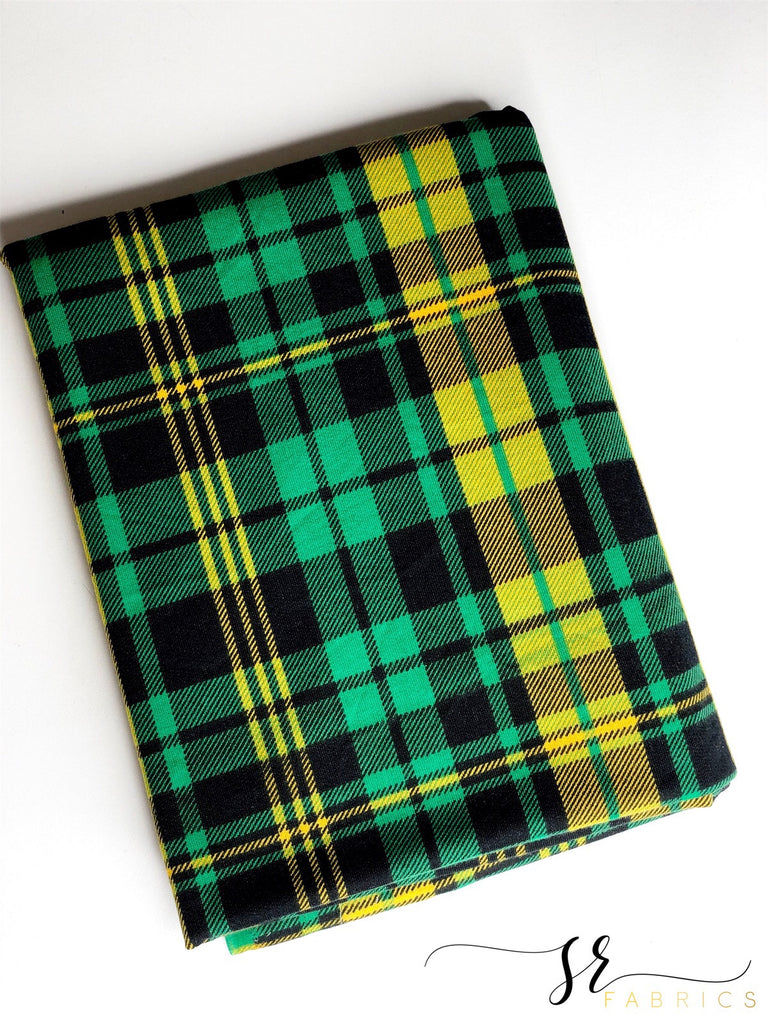 Green and yellow plaid French terry knit