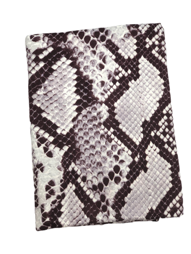 Plum and grey snake skin brushed poly knit