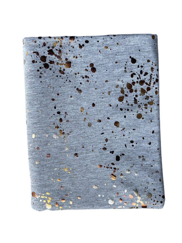 Splattered paint foil French terry knit