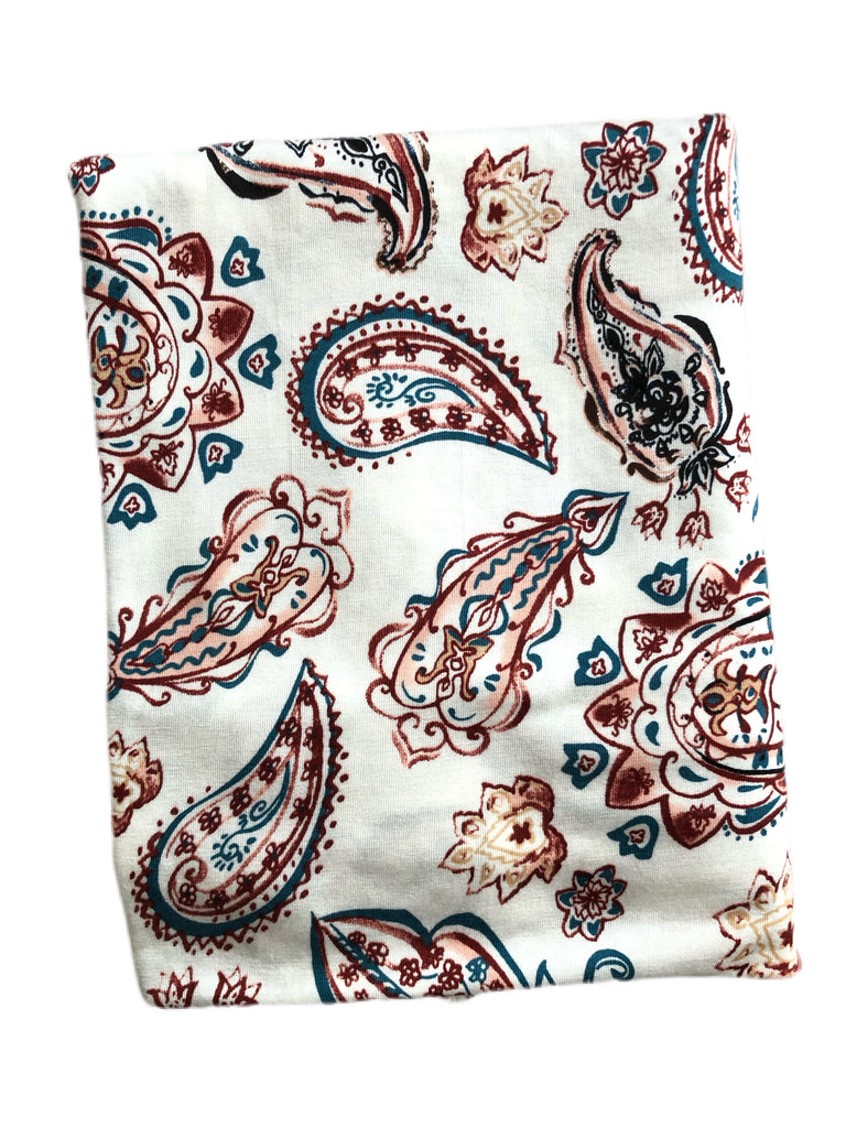 Paisley red pink and teal rayon spandex knit