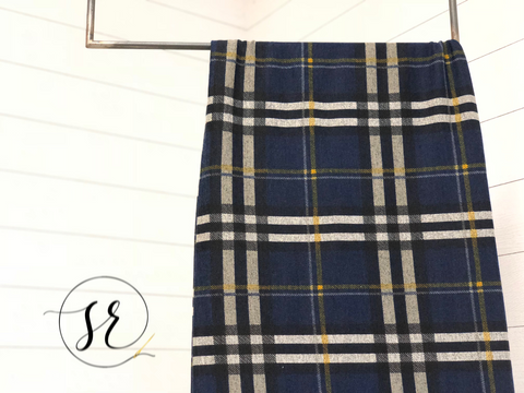 Blueberry plaid (navy, gray, mustard) hacci knit