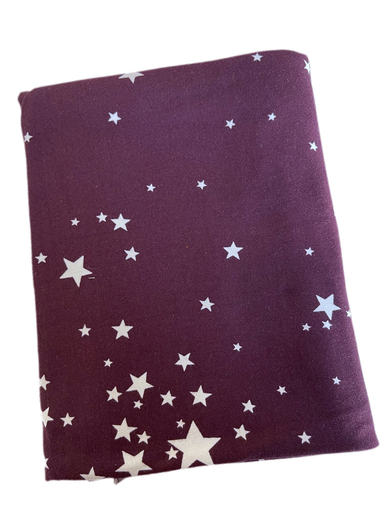 Plum and white stars brushed poly knit