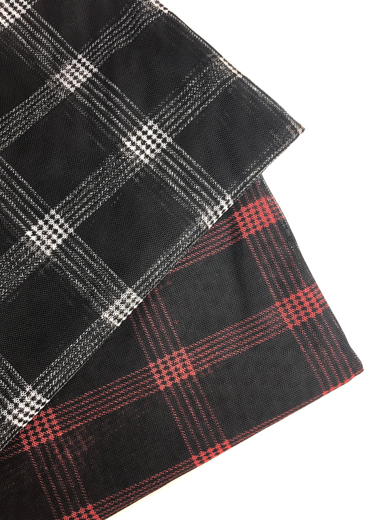 Plaid mesh four way knit
