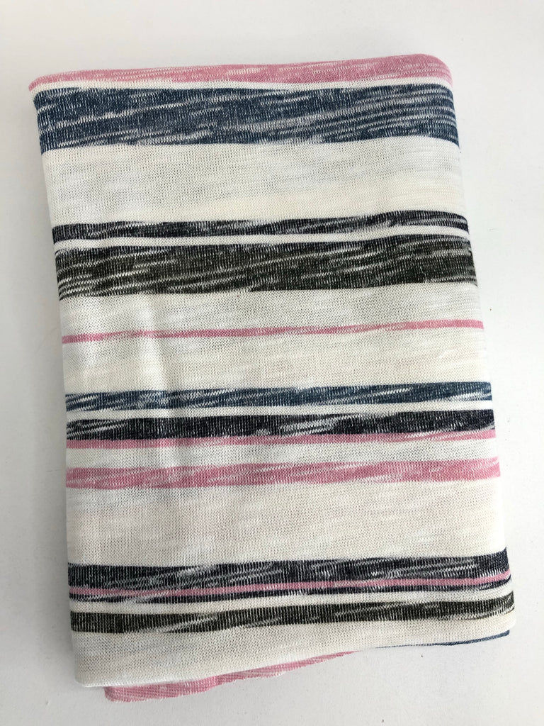 Pink navy blue stripe hacci knit