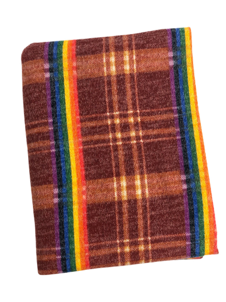 Rust rainbow plaid hacci knit