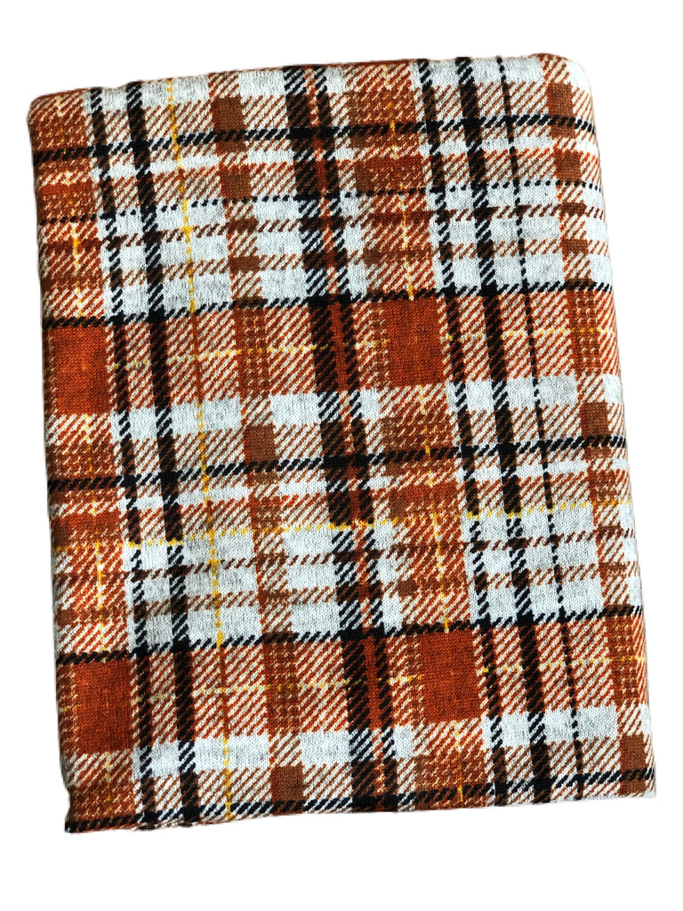 Rust and grey plaid hacci knit
