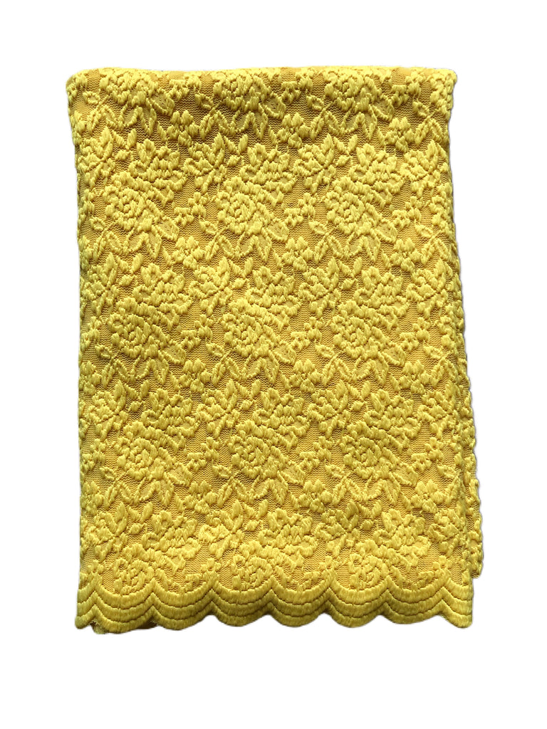 Yellow scalloped stretch lace knit