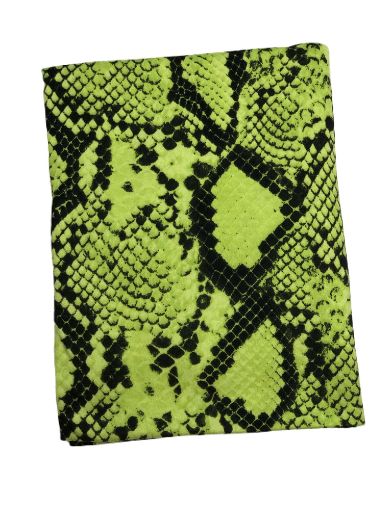 Green and black snake skin brushed poly knit