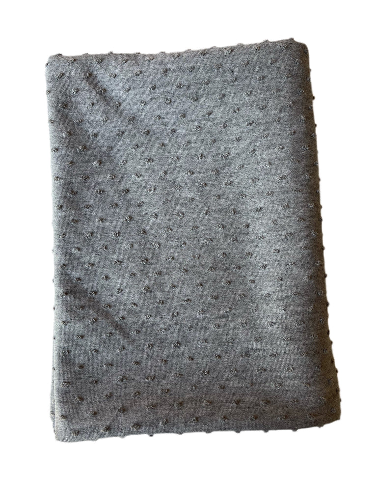 Gray Swiss dot jacquard knit