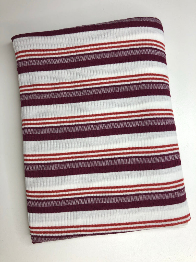 Burgundy and matron rib knit stripe