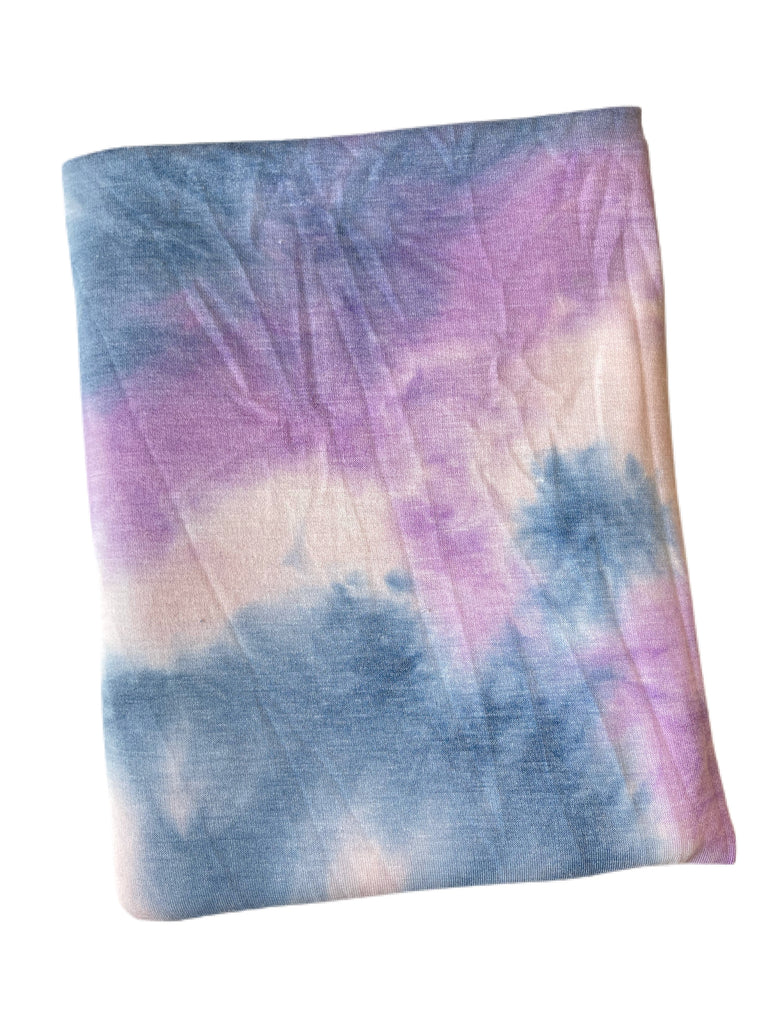 Denim lilac blush tie dye French terry knit