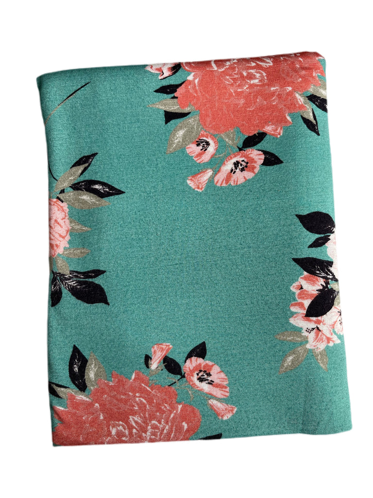 Teal and coral floral rayon spandex
