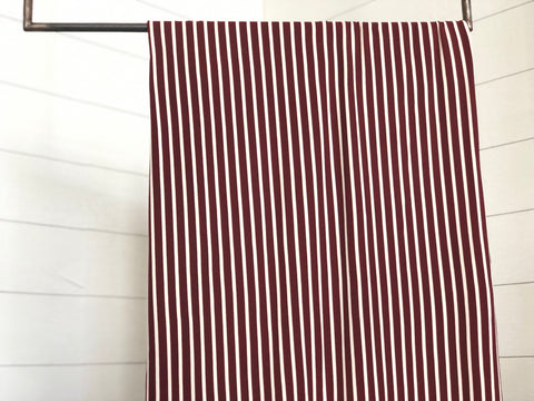 Burgundy and white brushed poly stripe knit