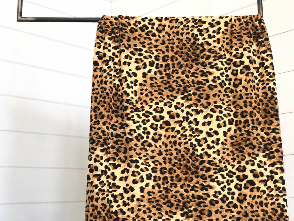 Leopard brushed poly knit