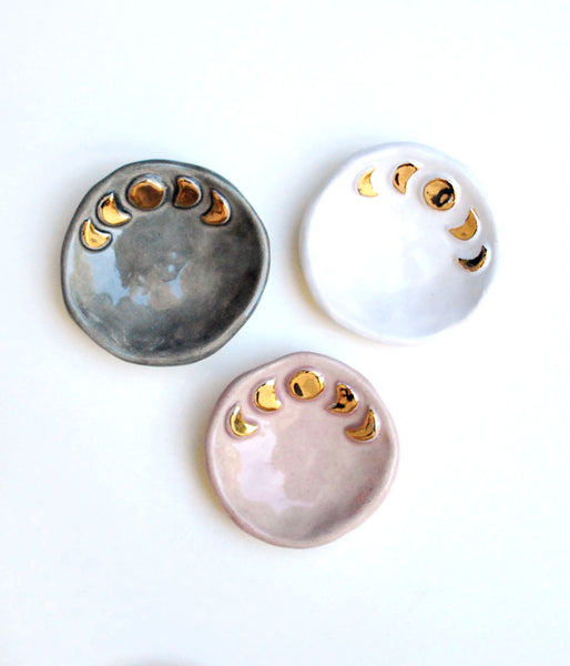 Ceramic Moon Phase Dishes in Gray, White and Pink