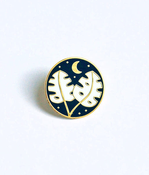 Enamel Pin with Two Monstera Leaves and Crescent Moon