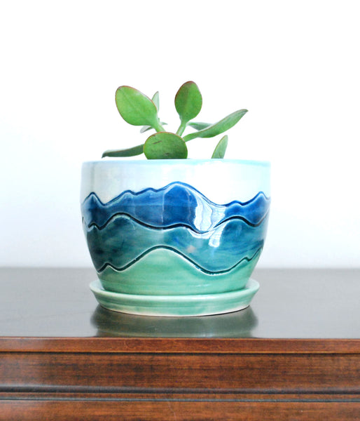 Handmade Planter with Blue Ridge Mountain Design