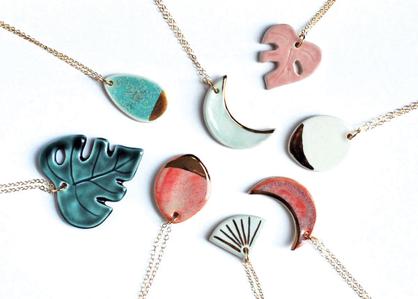 Ceramic Necklaces: Monstera Leaf, Moon, Fan Designs with gold luster