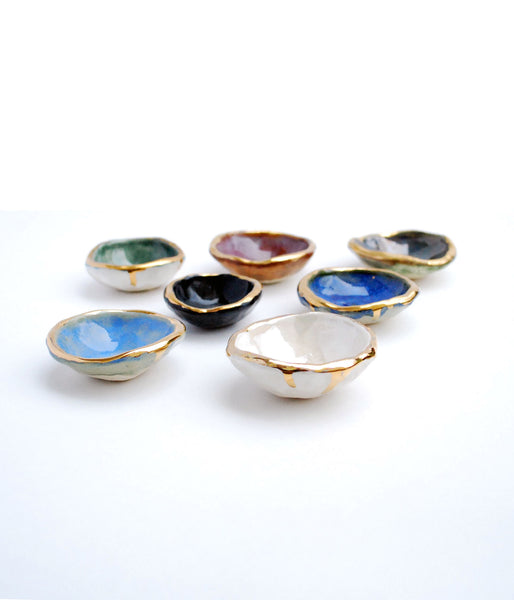 Small Jewelry Dishes in Blue, Green, Black, White and Burgundy with gold luster edges