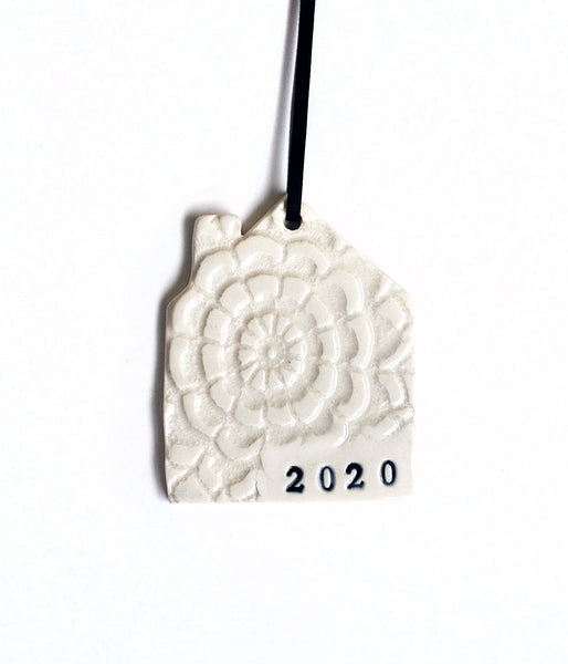 2020 house shaped ceramic ornament