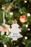 Christmas Tree Shaped Ornament with gold luster details and name hand-stamped