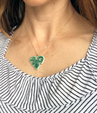 Monstera Leaf Necklace, Small - Green, Pink - Gold Chain