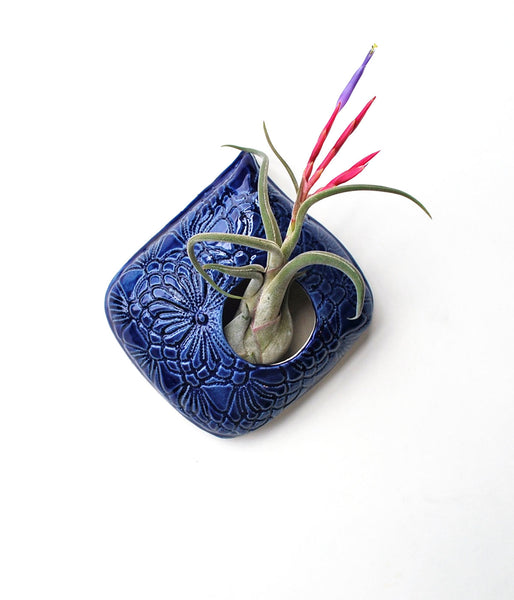 Ceramic Air Plant Holder - Blue Lace Teardrop Shape - Large