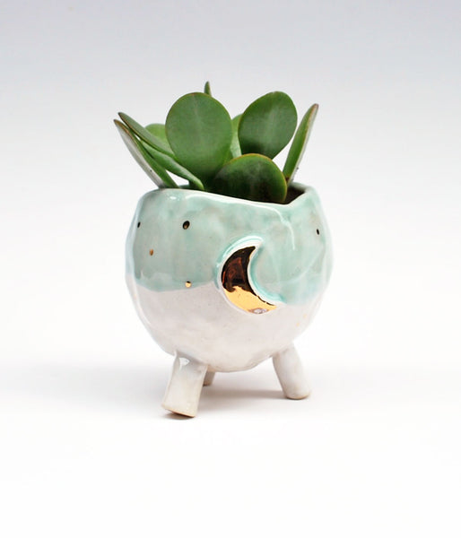 White and aqua planter with gold moon design