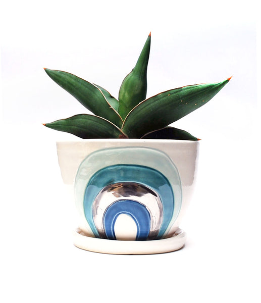 Rainbow Planter - Aqua and Green with Silver Luster