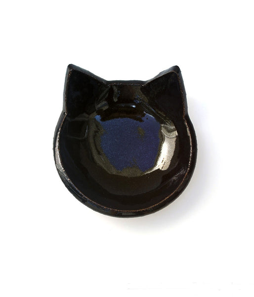 Black Cat Shaped Pottery Dish