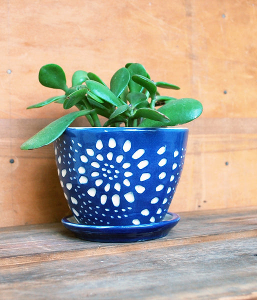 Blue and White handmade planter