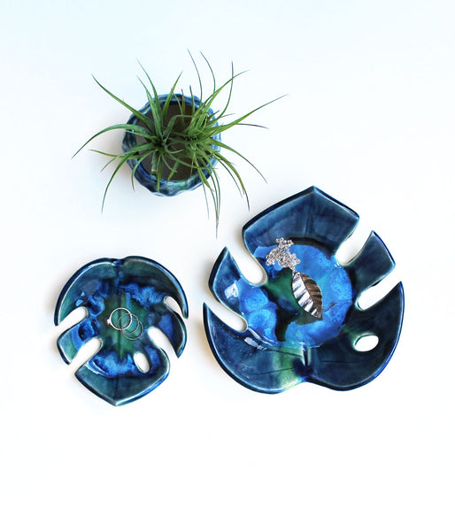 Blue-Green Monstera Leaf Bowls