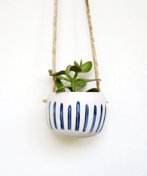 Blue and White Stripe Hanging Planter