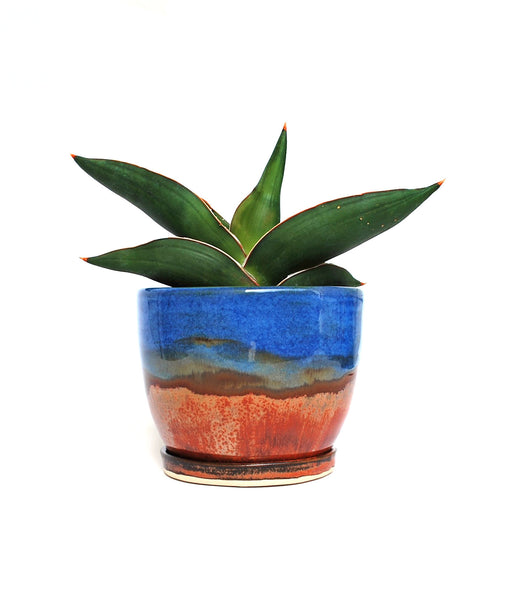 Ceramic Planter with Bronze Glaze on the bottom and blue glaze on the top, with small drainage dish
