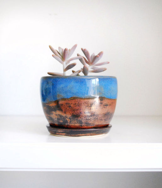 Bronze and Blue Ceramic Planter - Succulent Planter