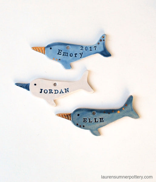 Narwhal Ornament, Personalized