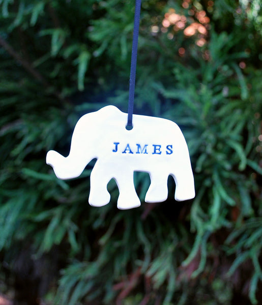 "Ceramic Porcelain Elephant Ornament, Personalized with a name ""James"""