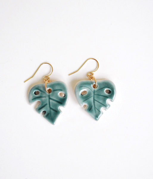 Monstera Leaf Earrings - Pink, Green - Gold Filled Wires