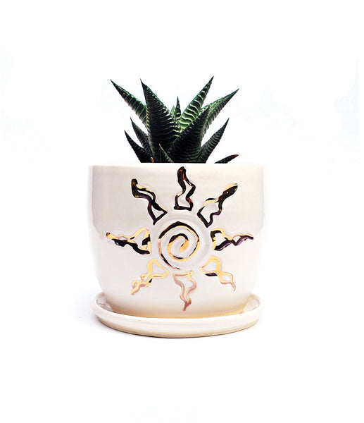 Sun Planter - White and Gold