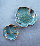 Green Monstera leaf dishes in small and large, as jewelry dishes