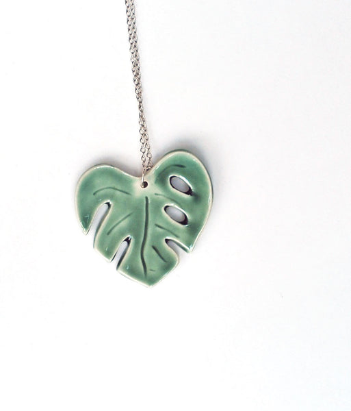 Green Monstera Split Leaf Ceramic Necklace