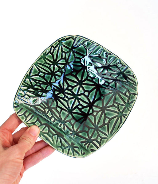 Green ceramic dish