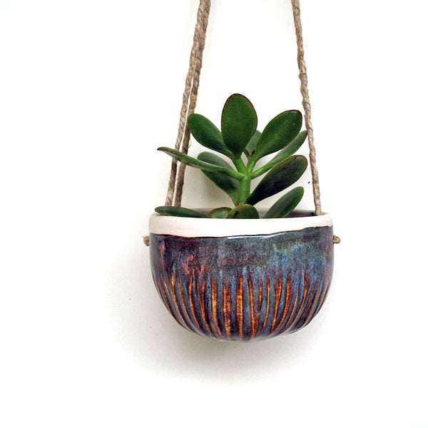 Carved Hanging Planter