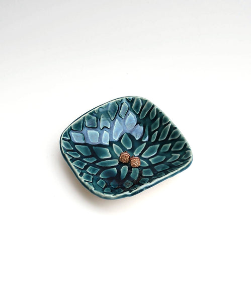 Teal blue floral ceramic dish