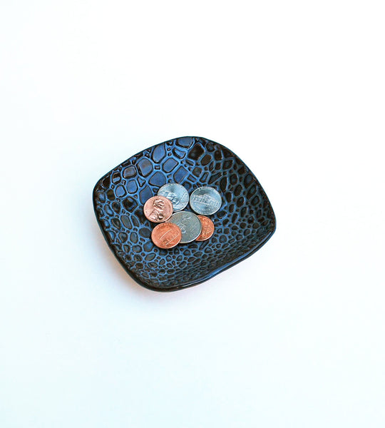 River rock blue ceramic dish